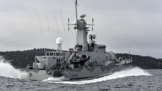 Swedish corvette HMS Stockholm patrols Jungfrufjarden in the Stockholm archipelago, Sweden, 20 October 2014