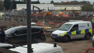Police at building site