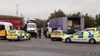 Lorry at Clacket Lane services