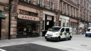 Police van outside Jack's in Newcastle