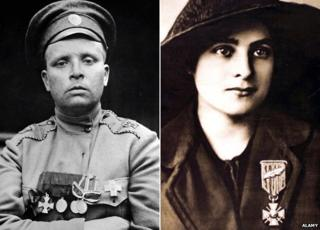 Russian she-soldier Maria Bochkareva and French fighter Emilienne Moreau