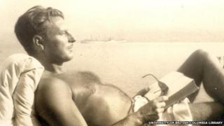Malcolm Lowry reclining in a deck chair at Dollarton, 1945