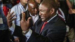 Mozambican ruling party Frelimo party presidential candidate Filipe Nyusi