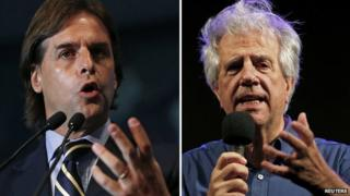 Luis Lacalle Pou in Montevideo on September 15, 2014 (L) and Tabare Vazquez in Montevideo on October 23, 2014.