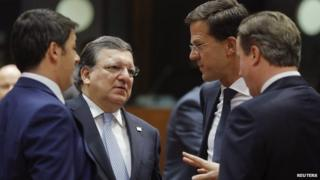 "Italy""s Prime Minister Matteo Renzi (L), outgoing European Commission President Jose Manuel Barroso (2nd L), Netherlands"" Prime Minister Mark Rutte and Britain""s Prime Minister David Cameron (R) talk as they arrive for a working session during an EU summit in Brussels October 24, 2014"