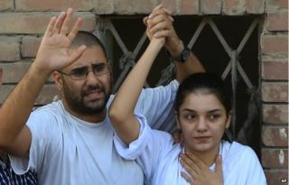 Alaa Abdel Fattah and his sister Sanaa Seif in Egypt 30 August 2014