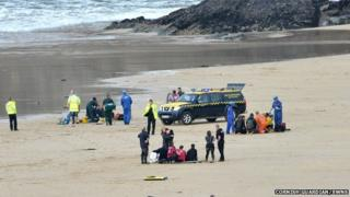 Rescue attempt at Mawgan Porth beach near Newquay
