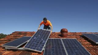 File image of solar panels on roof of a house in Sydney. August 2009