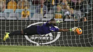 Senzo Meyiwa playing for South Africa in friendly against Australia in Sydney 26 May 2014