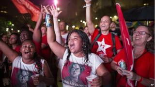 Workers Party supporters celebrate Dilma Rousseff's election victory 26 Oct 2014