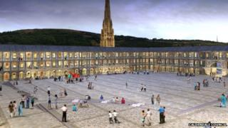 Artist's impression of the Piece Hall, Halifax