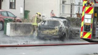 Firefighters at the crash in Bangor
