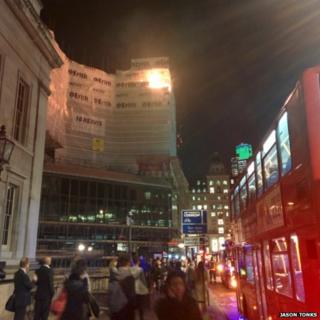 Fire in building by London Bridge
