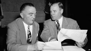 J Edgar Hoover (left) and Attorney General J Howard McGrath appeared in Washington on 20 June 1951