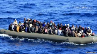 Migrants in a boat in the Mediterranean