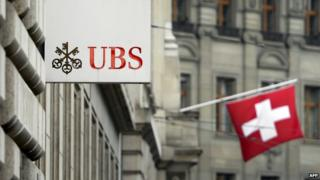UBS logo and Swiss flag