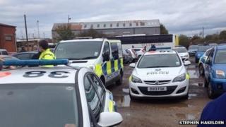 Police vehicles at the stadium