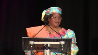Joyce Banda, former president of Malawi speaks at the speaker tribune
