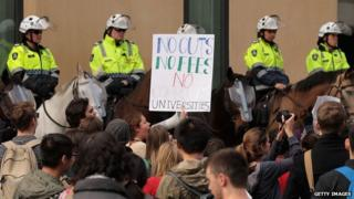 Students protest against university fees in Melbourne. 12 Sept