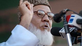 Jamaat-e-Islam Bangladesh leader Moalana Motiur Rahman Nizami speaks during a rally in Dhaka, 28 December 2005
