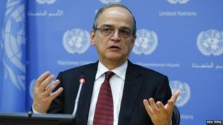 Syrian National Coalition President Hadi al-Bahra speaks to members of the media during a news briefing at the United Nations headquarters in New York