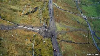 Aerial shot of A83 landslip