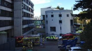 Fire engines at University of East Anglia