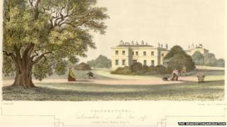 An artist's illustration by John Shaw from 1847 shows the Allerton Oak and Calderstones Mansion House
