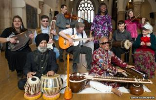 The Inner Vision Orchestra with their instruments