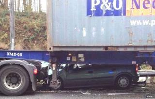 Car under lorry