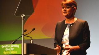 Leanne Wood addresses her party conference in autumn 2014