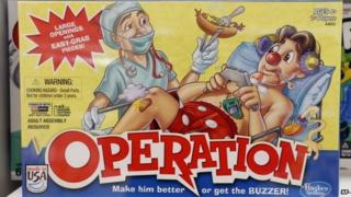 The game Operation is on display at a Toys R Us store on Monday, Sept. 22, 2014, in Colonie, N.Y.