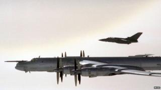 Tu-95 Bear bomber accompanied by RAF F3 Tornado, September 2007