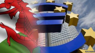 Welsh flag and EU symbol