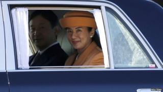 Japan's Crown Princess Masako and Crown Prince Naruhito leave a welcoming ceremony for King Willem Alexander and Queen Maxima of the Netherlands at the Imperial Palace in Tokyo on 29 October, 2014