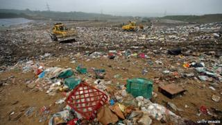 Rubbish at a UK landfill site