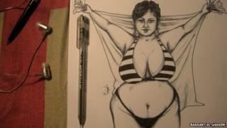 One of Bassant El Qassem's drawings of a woman