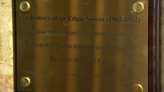 Plaque remembering Sir Edgar Speyer