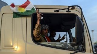 A peshmerga fighter waves a flag of Kurdistan as their convoys arrive in Viransehir, in Sanliurfa on 29 October 2014.