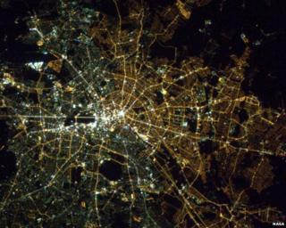 Berlin from the sky by astronaut Chris Hadfield 17 April 2013