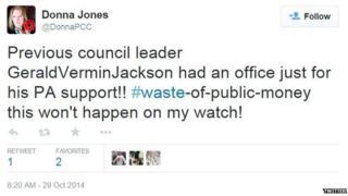 Tweet from Donna Jones