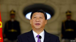 President Xi Jinping delivers a speech in Bucharest on 19 October 2009