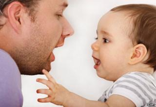 Child imitates father