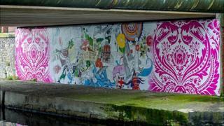 Canal bridge artwork