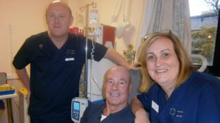 Patient Brian Williamson with day unit manager Sue Rowland