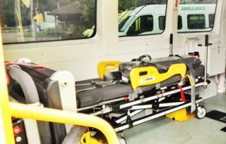 Interior view of a bariatric ambulance