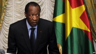 File photo: Burkina Faso's President Blaise Compaore in Ouagadougou, 26 July 2014