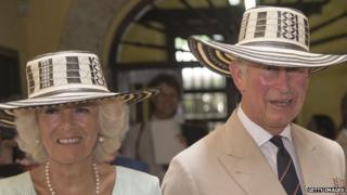 The Prince of Wales and Duchess of Cornwall during their visit to Colombia