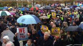 Protesters gathered outside the General Post Office (GPO) building in central Dublin for a mass rally