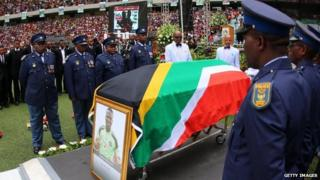 Senzo Meyiwa's coffin at his funeral, 1 Nov 2014